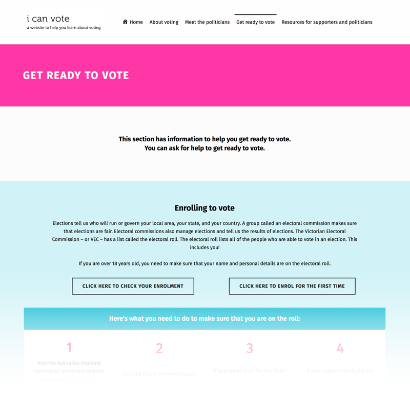 Screen Shot of the I can vote website