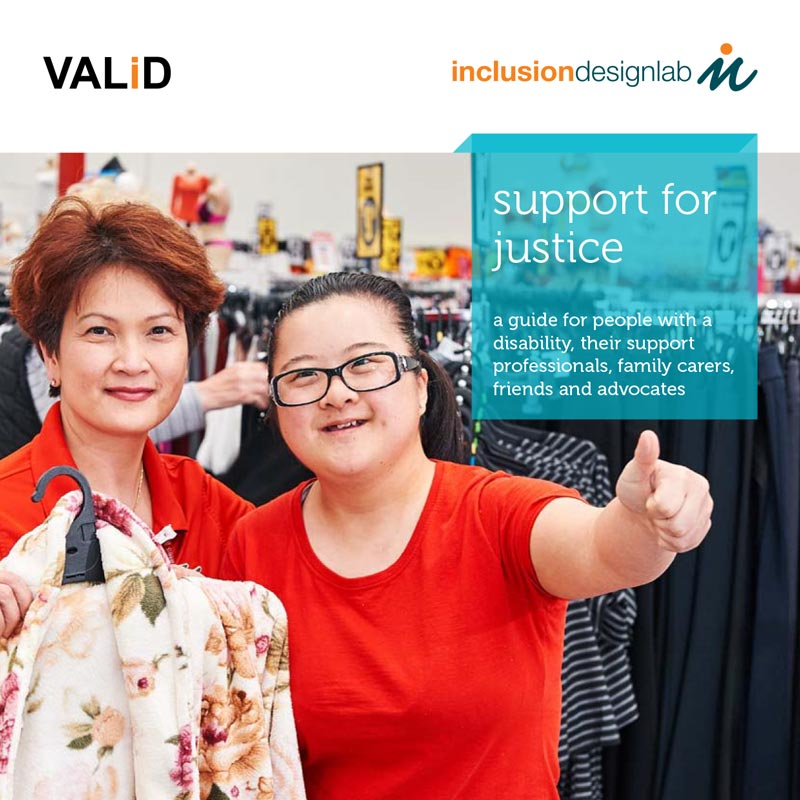 support for justice a guide for people with a disability, their support professionals, family carers, friends and advocates